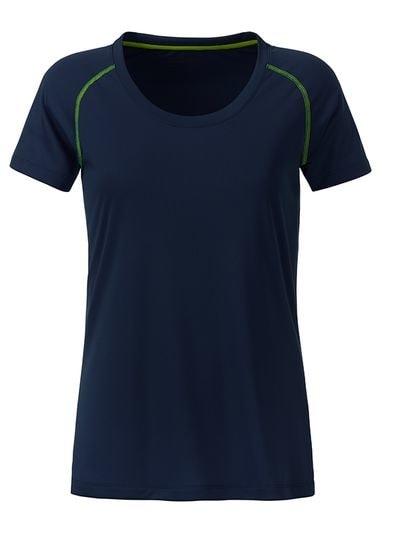 Dámské funkční tričko JN495 - Tmavě modro-zářivě žlutá | M