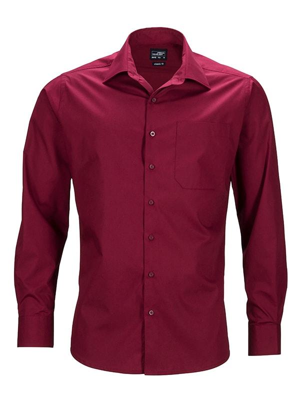 Pánská košile s dlouhým rukávem JN642 - Vínová   S