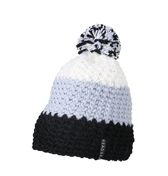 Háčkovaná zimní čepice MB7940 - Černá / stříbrná / bílá | uni