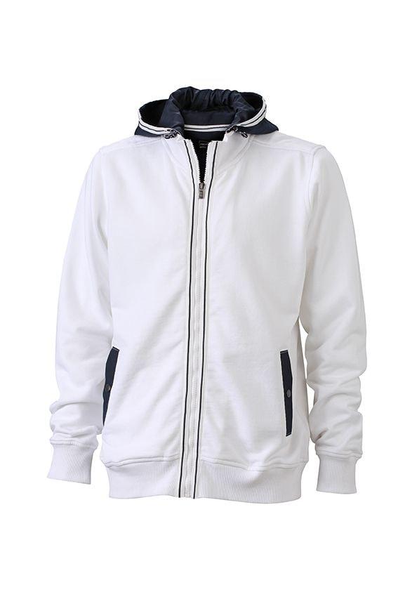 Pánská mikina s kapucí na zip JN996 - Bílá / tmavě modrá | XXXL