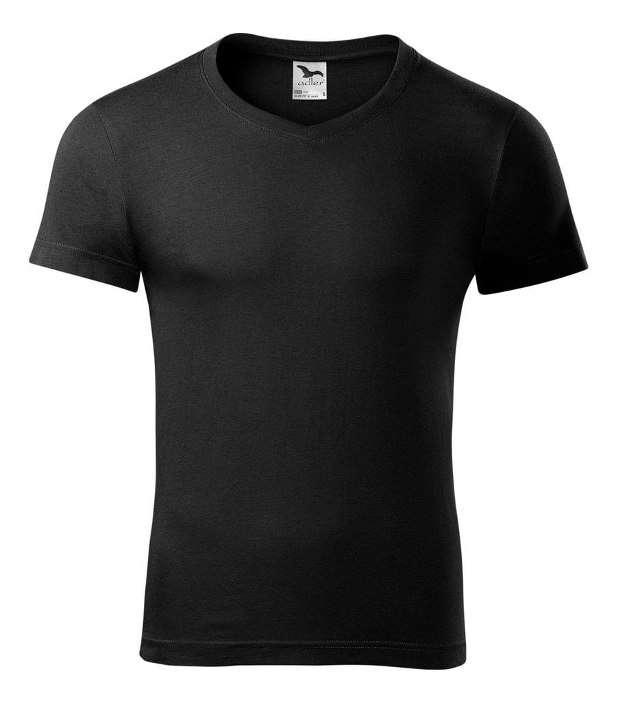 Pánské tričko slim fit V-NECK - Černá | XXL