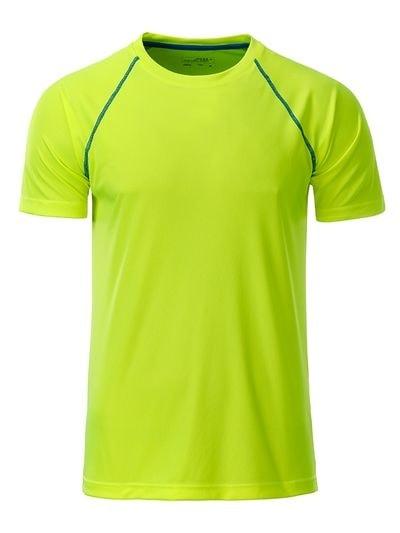 Pánské funkční tričko JN496 - Jasně žlutá / jasně modrá | XL