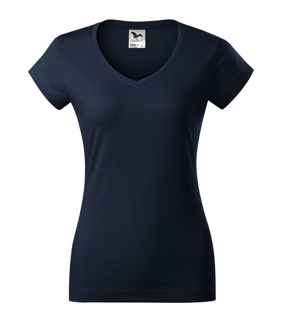 Dámské tričko slim fit V-NECK - Námořní modrá | XL