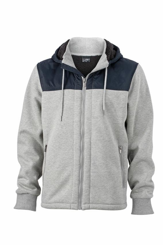 Pánská mikina s kožíškem na zip JN508 - Sportovně šedá / tmavě modrá | XXXL