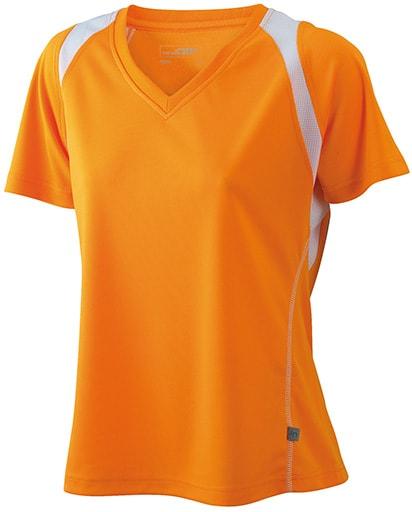 Dámské běžecké tričko s krátkým rukávem JN396 - Oranžová/ bílá   XL