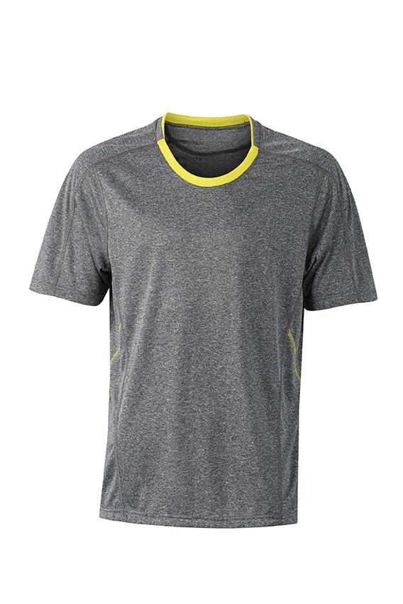 Pánské běžecké tričko JN472 - Šedý melír / citrónová | S