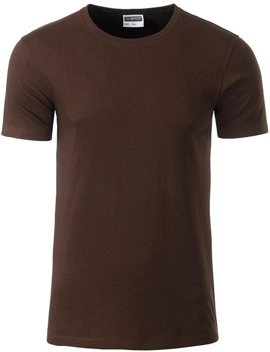 Klasické pánské tričko z biobavlny 8008 - Hnědá | M