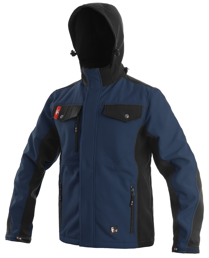 Pánská softshellová bunda TULSA - Modrá / černá | XXXL