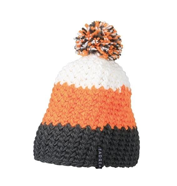 Háčkovaná zimní čepice MB7940 - Tmavě šedá / oranžová / bílá | uni