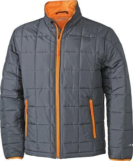 Pánská polstrovaná bunda JN1035 - Tmavě šedá / oranžová | XXL