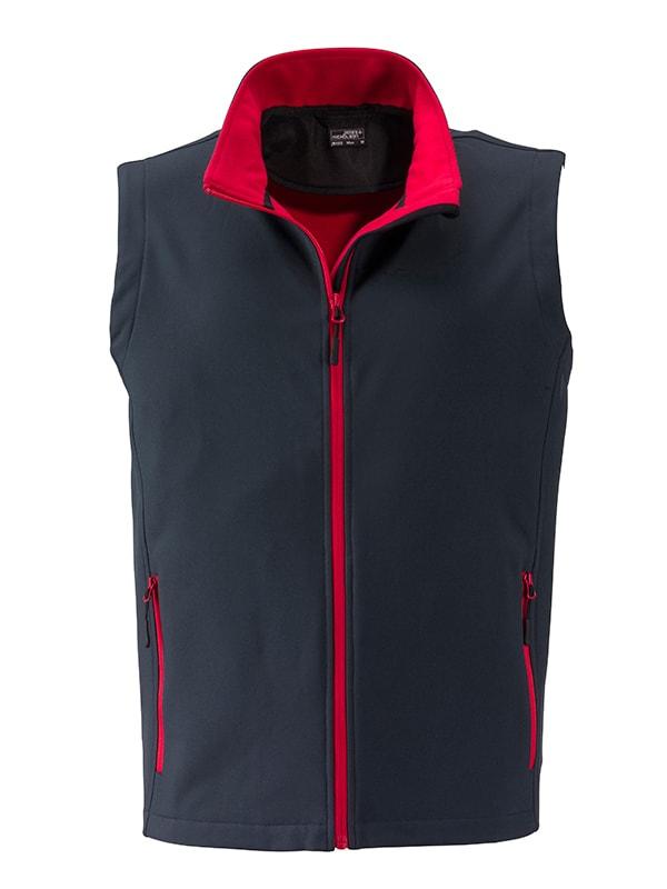 Pánská softshellová vesta JN1128 - Ocelově šedá / červená | M