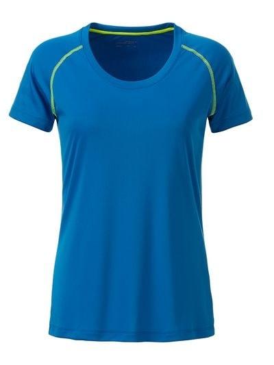 Dámské funkční tričko JN495 - Jasně modrá / sytě žlutá | XL