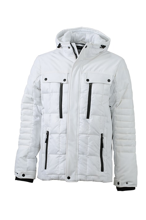 James & Nicholson Športová pánska zimná bunda JN1102 - Bílá / černá | XL