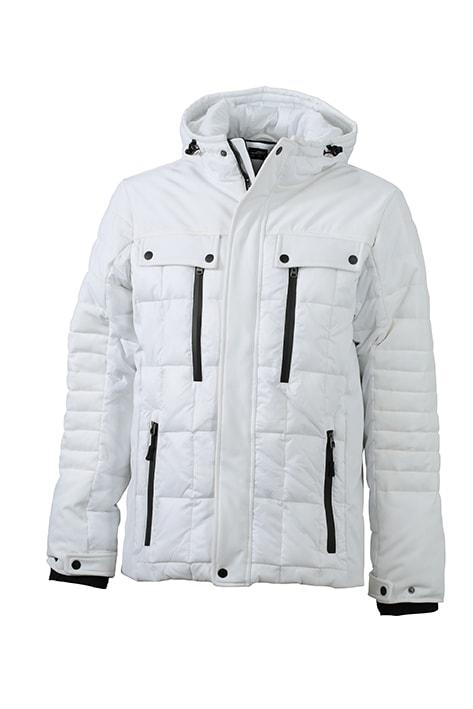 James & Nicholson Športová pánska zimná bunda JN1102 - Bílá / černá | XXXL