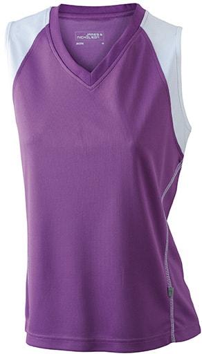 Dámské běžecké tričko bez rukávů JN394 - Fialová / bílá | XL