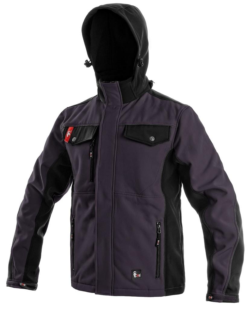 Pánská softshellová bunda TULSA - Šedá / černá | XL
