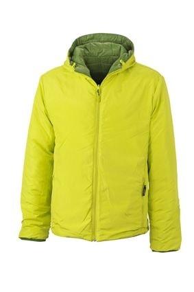 Lehká pánská oboustranná bunda JN1092 - Zelená / žlutozelená | XXXL