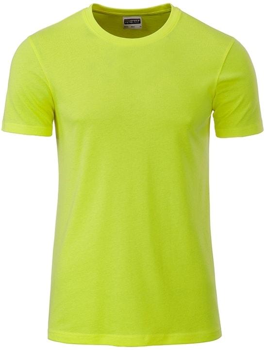 Klasické pánské tričko z biobavlny 8008 - Žlutozelená | M