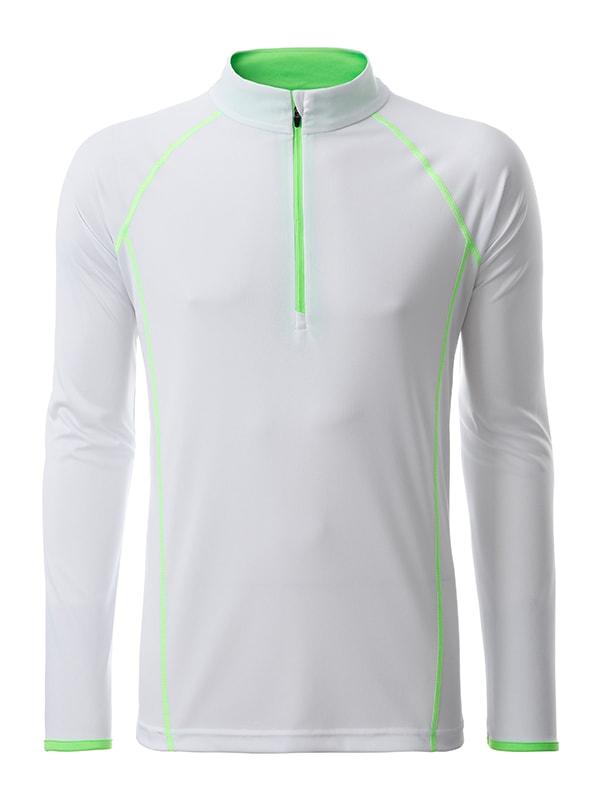 Pánské funkční tričko s dlouhým rukávem JN498 - Bílo-zářivě zelená | M