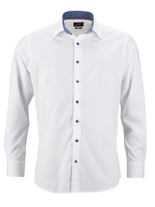 Pánská bílá košile JN648 - Bílo-modro bílá | S