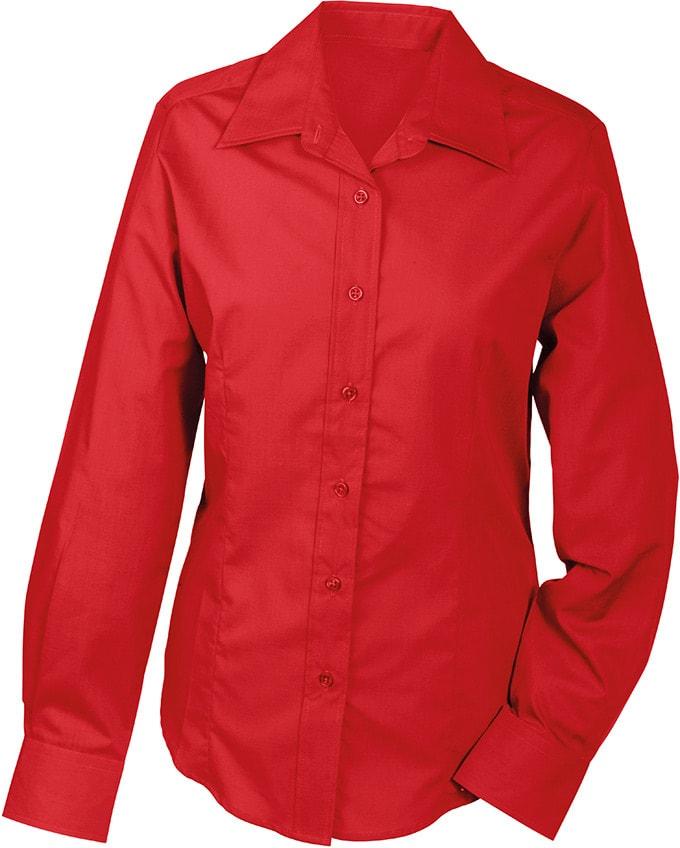 Dámská košile s dlouhým rukávem JN602 - Červená   M