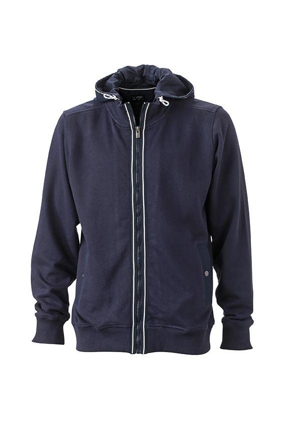 Pánská mikina s kapucí na zip JN996 - Tmavě modrá / tmavě modrá | XXXL