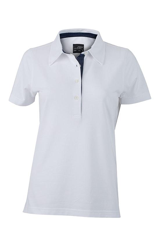 Elegantní dámská polokošile JN969 - Bílá / tmavý denim | L