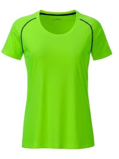 Dámské funkční tričko JN495 - Jasně zelená / černá | XS