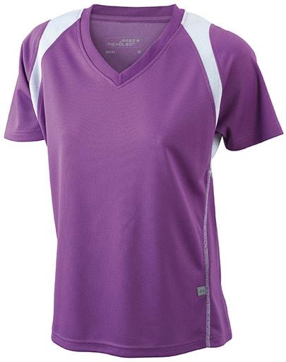 Dámské běžecké tričko s krátkým rukávem JN396 - Fialová / bílá   XL