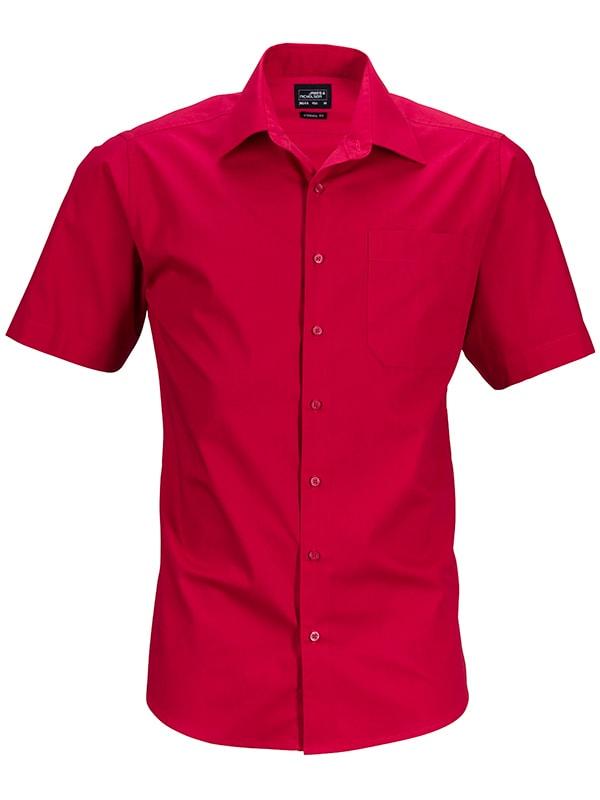 Pánská košile s krátkým rukávem JN644 - Červená | XXXL
