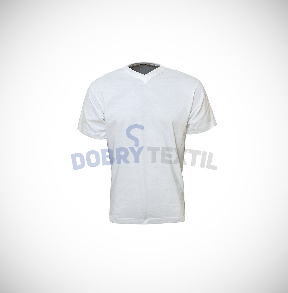 Pánské tričko s výstřihem V-NECK - Bílá | L