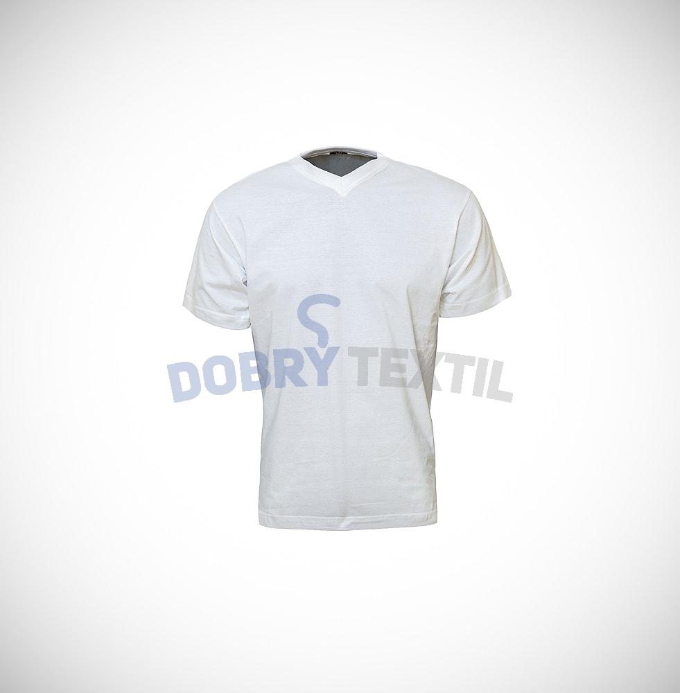 Pánské tričko s výstřihem V-NECK - Bílá | XXL