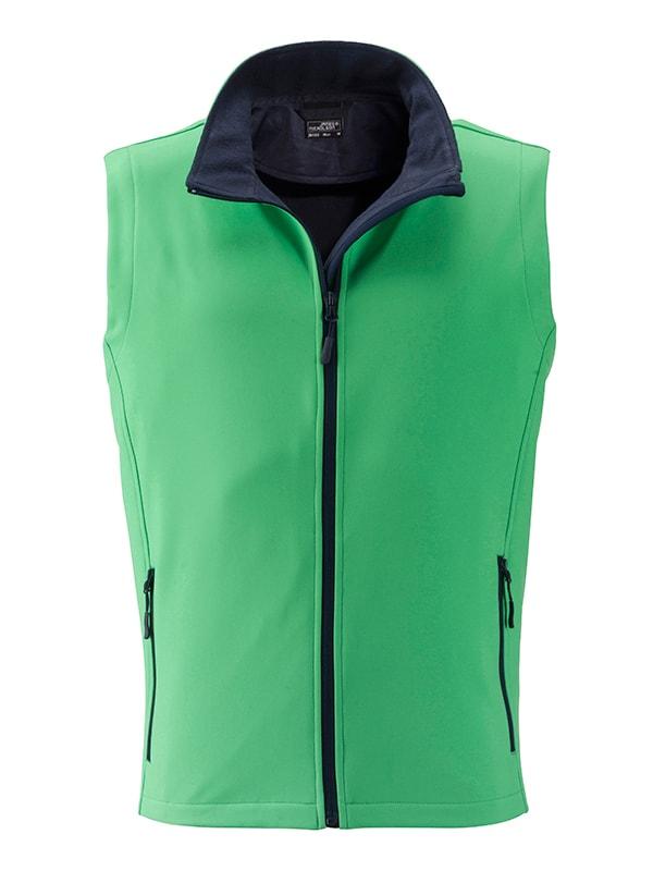 Pánská softshellová vesta JN1128 - Zelená / tmavě modrá | XXL