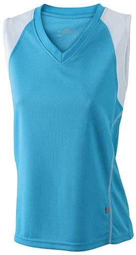 Dámské běžecké tričko bez rukávů JN394 - Tyrkysová / bílá   XL