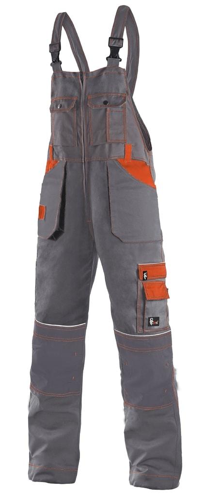 Montérkové kalhoty s laclem ORION KRYŠTOF - Šedá / oranžová | 50