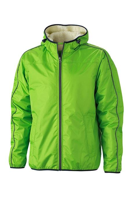 James & Nicholson Pánska zimná bunda Baránok JN1104 - Jarně zelená / šedo-bílá | XXL