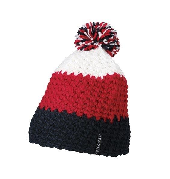 Háčkovaná zimní čepice MB7940 - Tmavě modrá / červenáí / bílá | uni