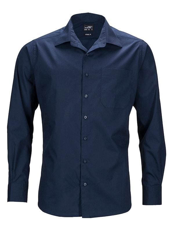 Pánská košile s dlouhým rukávem JN642 - Tmavě modrá   S