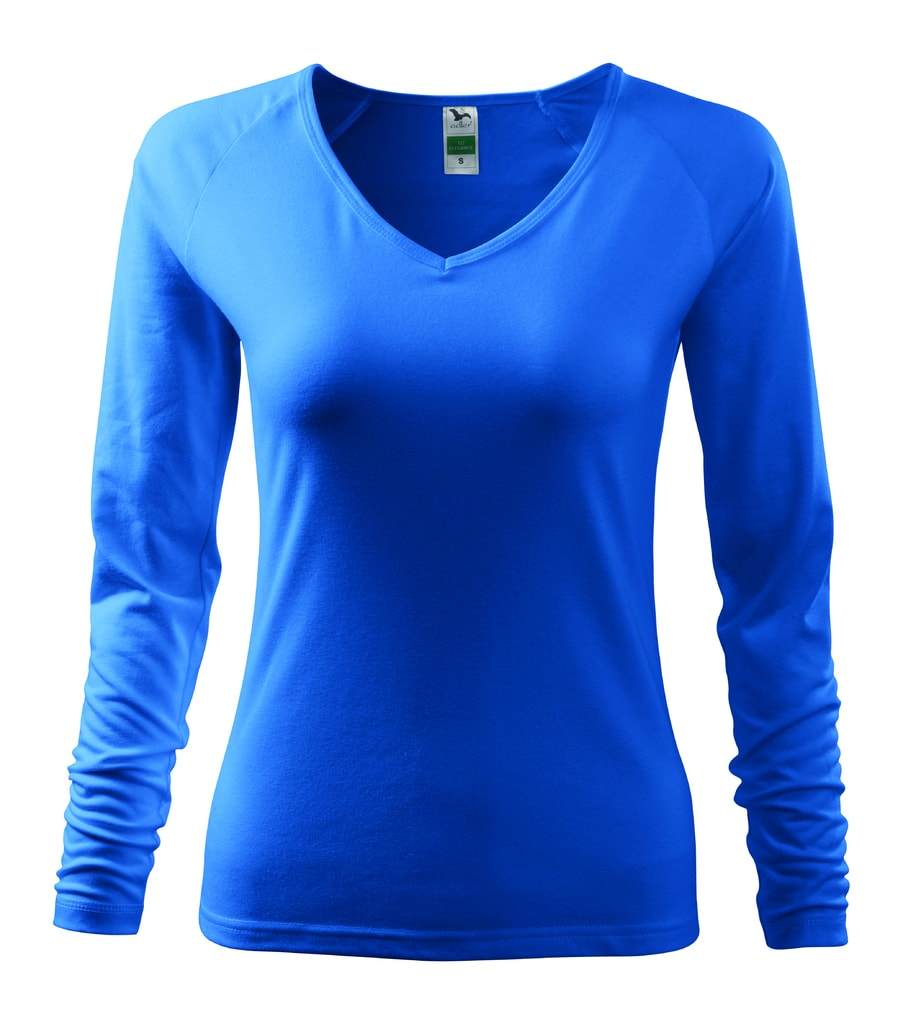 Dámské tričko s dlouhým rukávem - Azurově modrá | XL