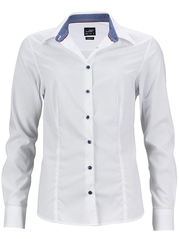 Dámská bílá košile JN647 - Bílo-modro bílá | XL