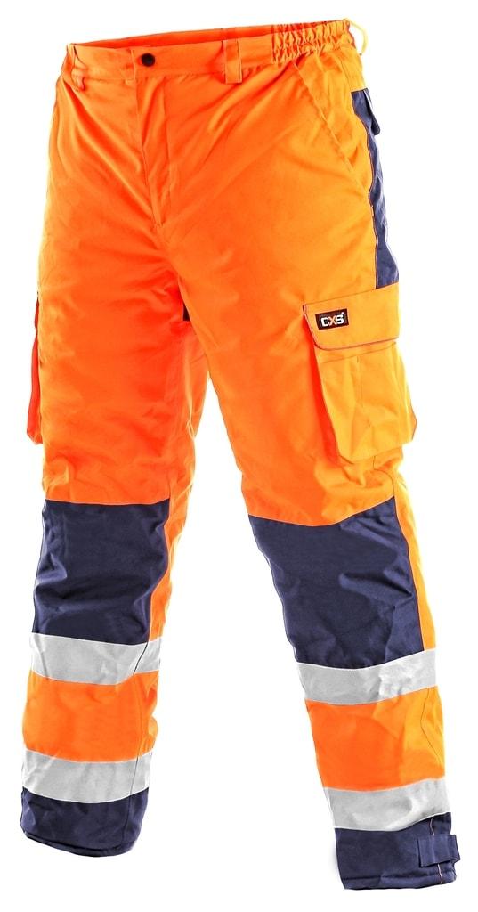 Zimní pracovní reflexní kalhoty CARDIFF - Oranžová | XXXL