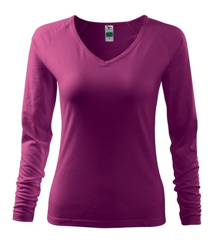 Dámské tričko s dlouhým rukávem - Fuchsiová | S