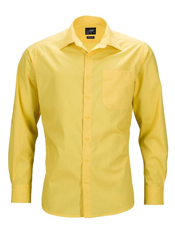 Pánská košile s dlouhým rukávem JN642 - Žlutá   S