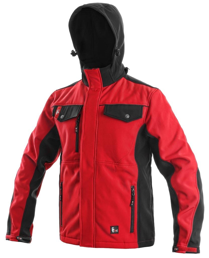 Pánská softshellová bunda TULSA - Červená / černá | XXXL