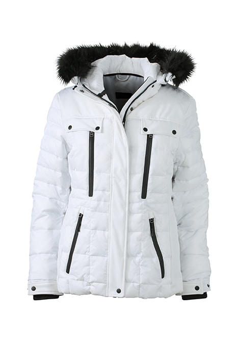 Sportovní dámská zimní bunda JN1101 - Bílá / černá | L