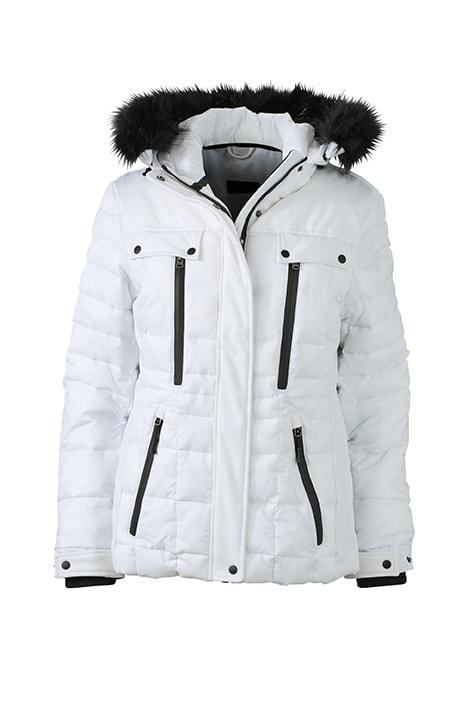 Sportovní dámská zimní bunda JN1101 - Bílá / černá | XXL