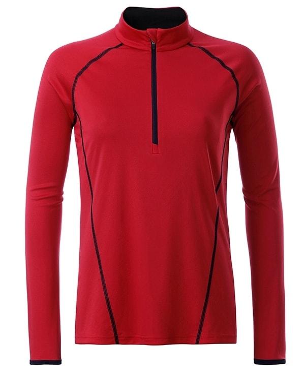 Dámské funkční tričko s dlouhým rukávem JN497 - Červeno-černá | XS