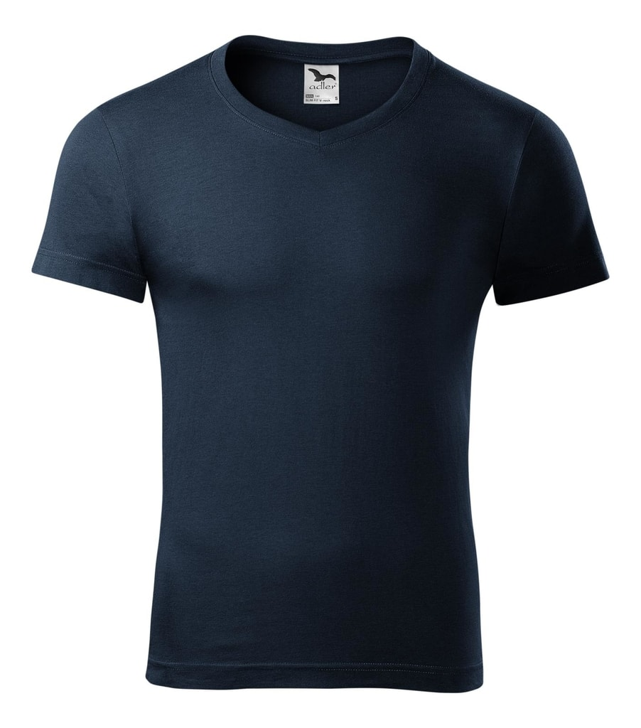 Pánské tričko slim fit V-NECK - Námořní modrá | L