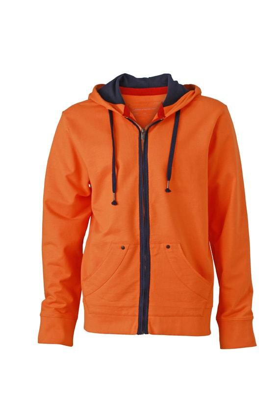 Pánská mikina na zip Urban JN982 - Oranžová / tmavě modrá | XXXL