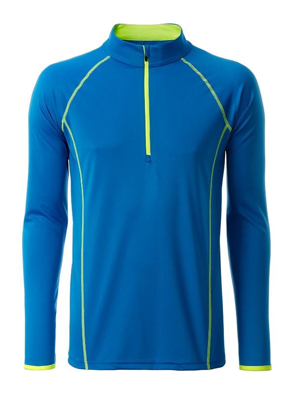 Pánské funkční tričko s dlouhým rukávem JN498 - Jasně modrá / sytě žlutá | XXL